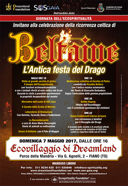 7 maggio 2017 - Ecovillaggio di Dreamland - Celebrazione di Beltaine, l'Antica festa del Drago