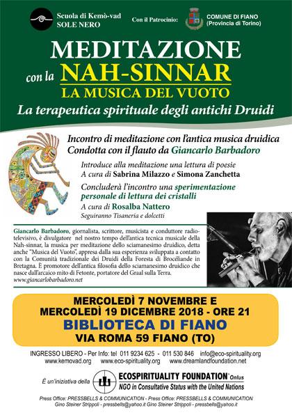 7 novembre 2018 ore 21 - Biblioteca di Fiano (TO) - Meditazione con la Nah-sinnar, la Musica del Vuoto