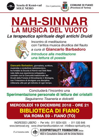 19 dicembre 2018 ore 21 - Biblioteca di Fiano (TO) - Meditazione con la Nah-sinnar, la Musica del Vuoto