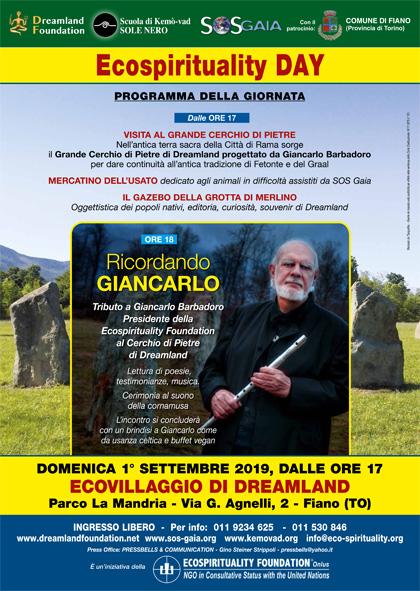 1° settembre 2019 ore 17 - Ecovillaggio di Dreamland - Ricordando Giancarlo - Ecospirituality Day all'Ecovillaggio di Dreamland
