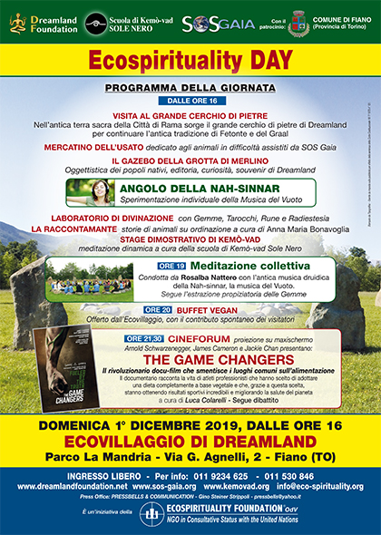 1° dicembre 2019 ore 16 - Ecovillaggio di Dreamland - Ecospirituality Day: Cineforum The Game Changers - Stage di Kemò-vad