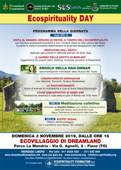 3 novembre 2019 ore 17 - Ecovillaggio di Dreamland - Ecospirituality Day all'Ecovillaggio di Dreamland