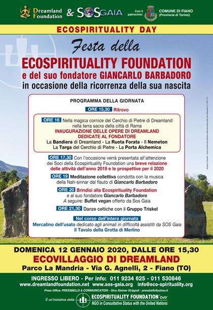 12 gennaio 2020 ore 15.30 - Ecovillaggio di Dreamland - Festa della Ecospirituality Foundation e del suo fondatore Giancarlo Barbadoro