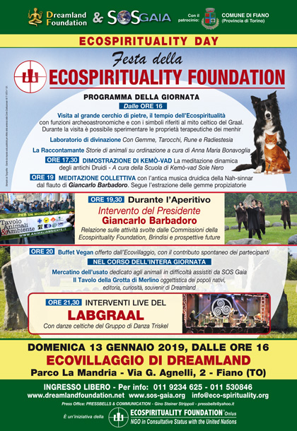 13 gennaio 2018 ore 16 - Ecovillaggio di Dreamland - Ecospirituality Day