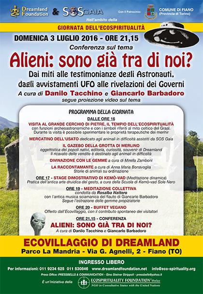 3 luglio 2016 - Ecovillaggio di Dreamland - Conferenza Alieni: sono già tra di noi?