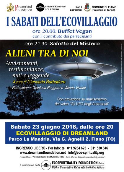 23 giugno 2018 ore 20 - Ecovillaggio di Dreamland - I Sabati dell'Ecovillaggio: Conferenza Alieni tra di noi