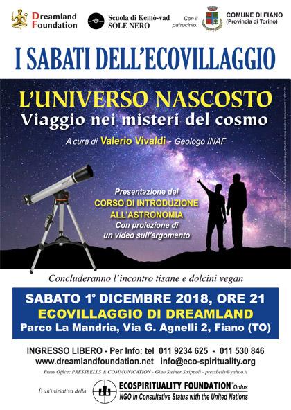 1° dicembre 2018 ore 21 - Ecovillaggio di Dreamland - Presentazione del corso di astronomia